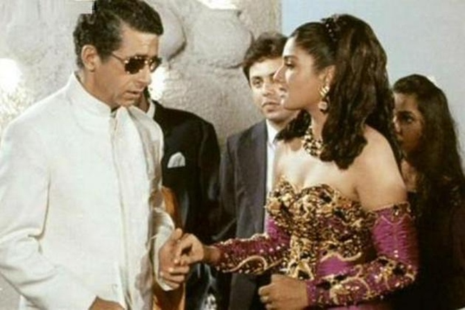 Naseeruddin Shah and Raveena Tandon in Mohra