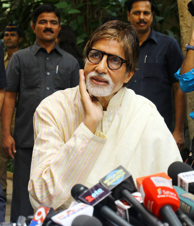Amitabh Bachchan on his 71st birthday at his residence Janak
