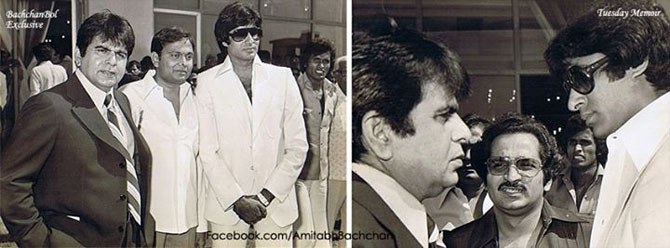 Dilip Kumar and Amitabh Bachchan on the sets of Shakti.