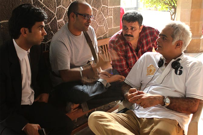 Hansal Mehta with Rajkumar and Sunil Bohra on the sets of Shahid