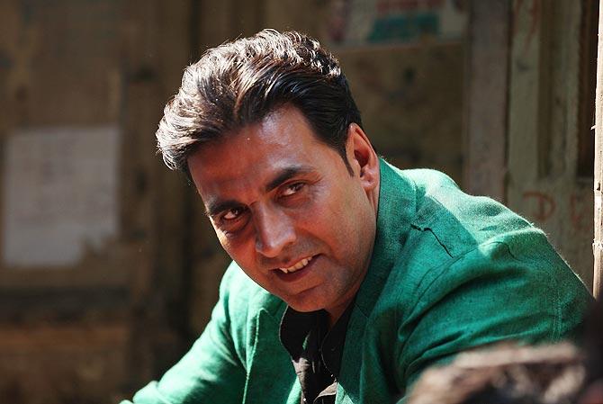 Akshay Kumar takes a break while shooting for Boss.