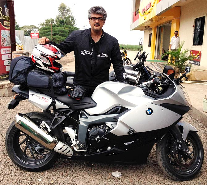 Ajith with his bike