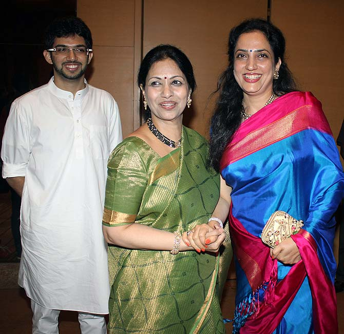 Aditya Thackeray, Indira Subburami Reddy and Rashmi Thackeray