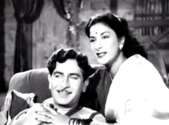 Raj Kapoor and Nargis in Aah