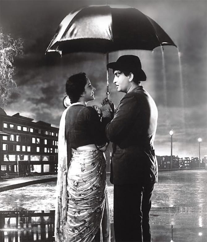 Nargis Dutt and Raj Kapoor in Shree 420
