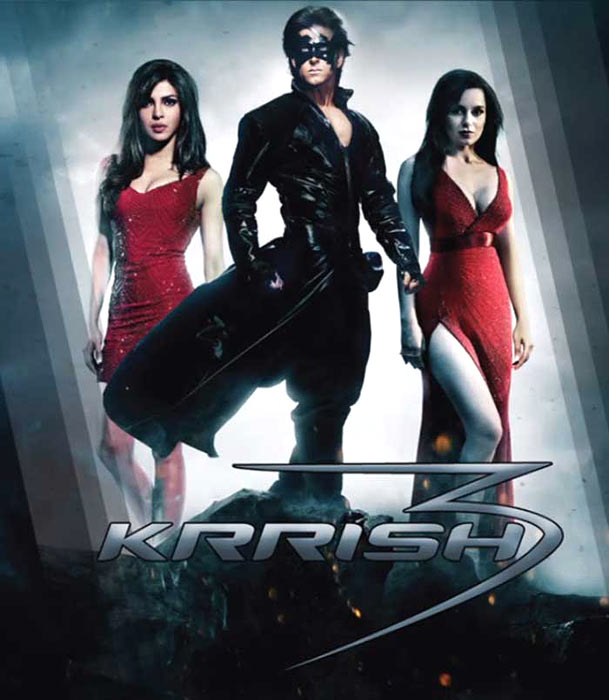 Priyanka Chopra, Hrithik Roshan and Kangna Ranaut in the poster of Krrish 3