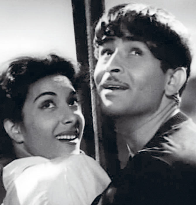 Nargis and Raj Kapoor in Awara