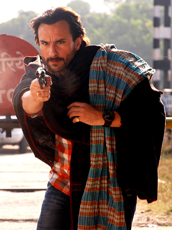 Saif Ali Khan on the sets of Bullet Raja at Kakori railway station