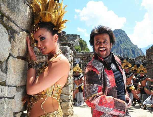 Aishwarya Rai Bachchan and Rajinikanth in Endhiran, shot in Machu Picchu