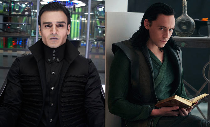 Vivek Oberoi as Kaal and Tom Hiddleston as Loki