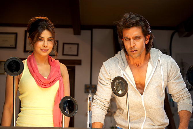 Priyanka Chopra and Hrithik Roshan in Krrish 3