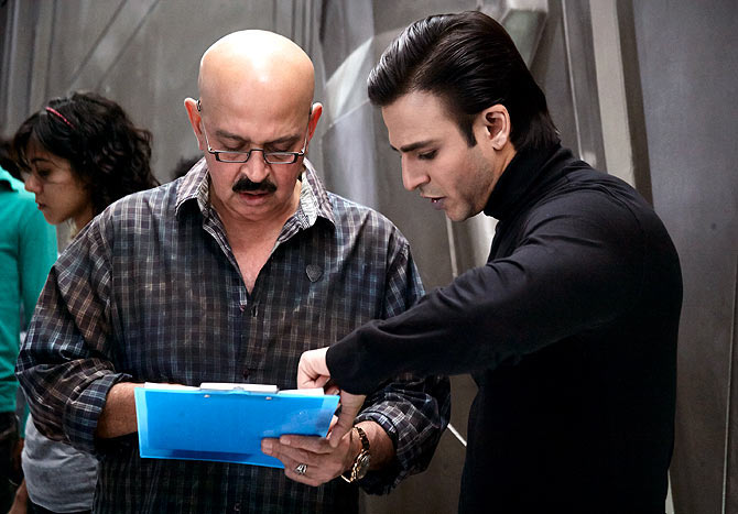 Rakesh Roshan and Vivek Oberoi on the sets of Krrish 3