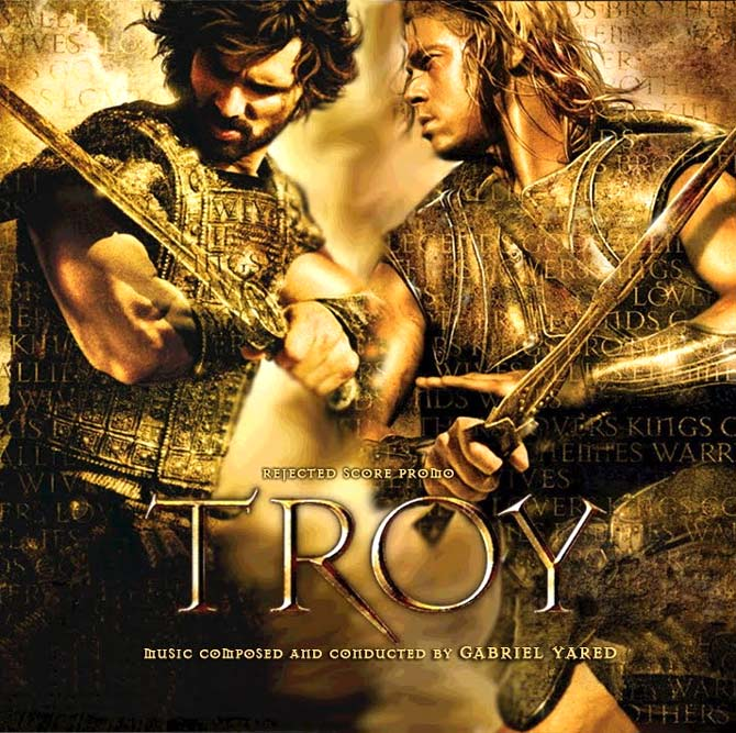 Eric Bana and Brad Pitt in a Troy poster