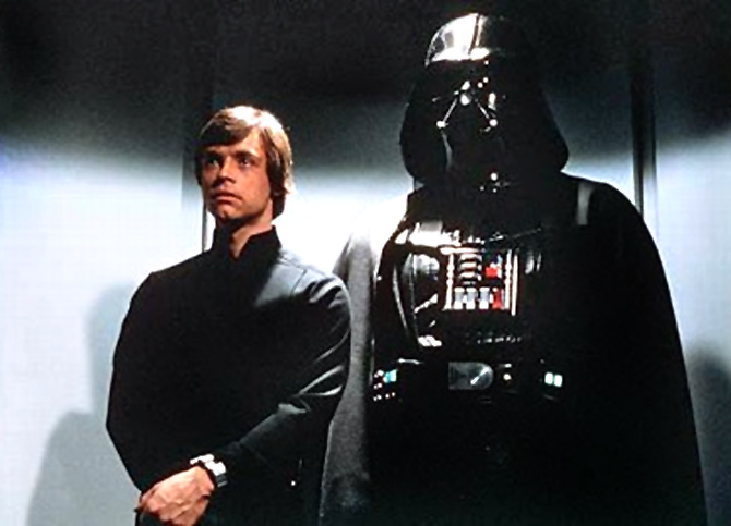 Mark Hamill and Darth Vader in Star Wars