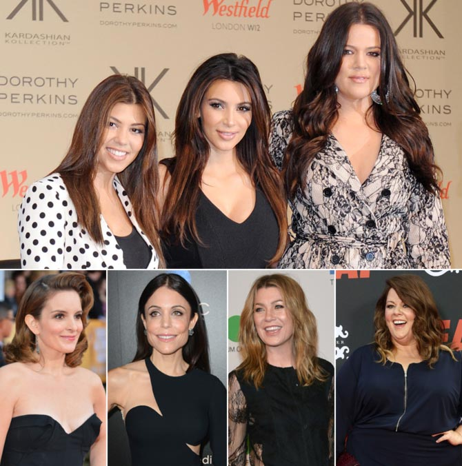 Anti clockwise from top: Kardashian sisters, Tina Fey, Bethenny Frankel, Ellen Pompeo and Melissa McCarthy