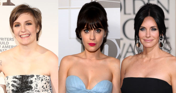 Lena Dunham, Zooey Deschanel and Courtney Cox
