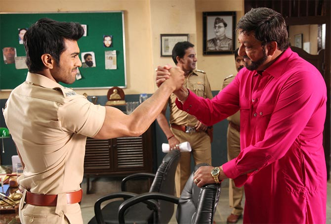 Ram Charan and Sanjay Dutt in Zanjeer