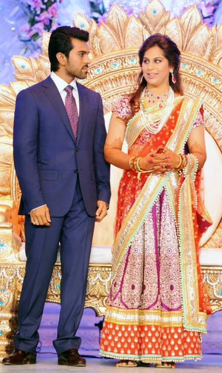 Ram Charan with his wife Upasana
