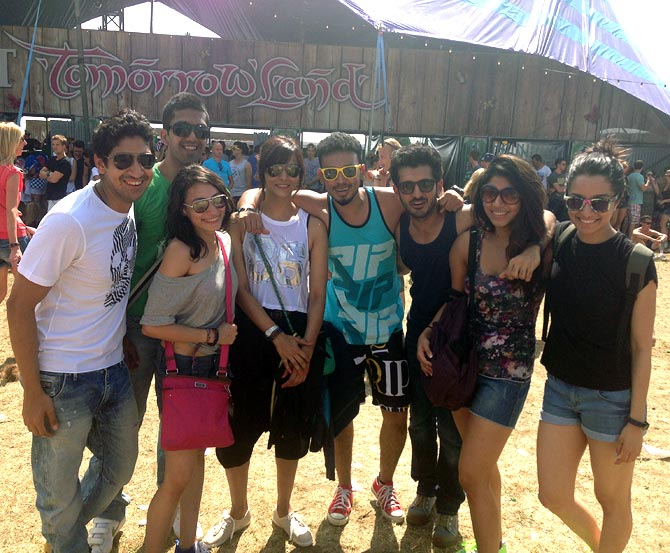 Ayan Mukherjee and Shraddha Kapoor with friends in Belgium