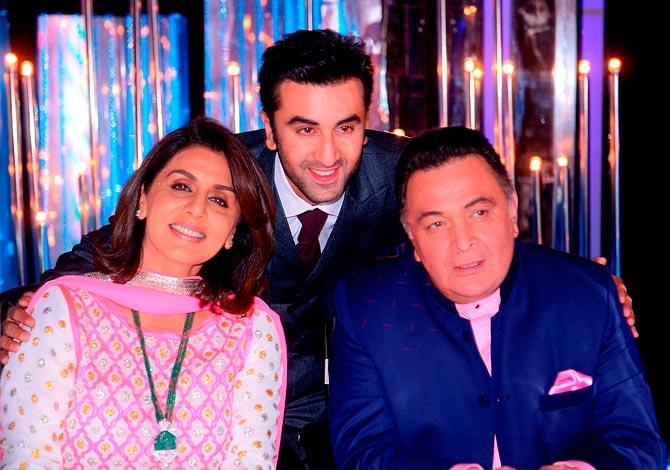 Neetu, Ranbir and Rishi Kapoor