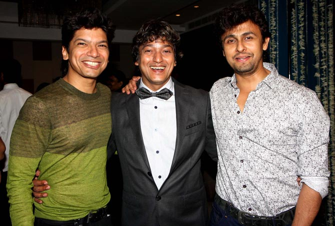 Shaan and Sonu Nigam with Aadesh Shrivastava