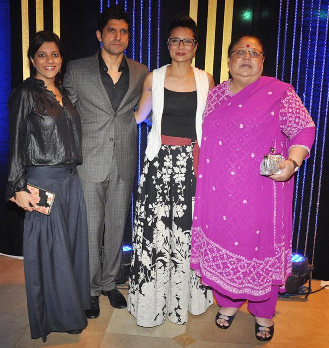 Zoya, Farhan and Adhuna Akhtar with Honey Irani