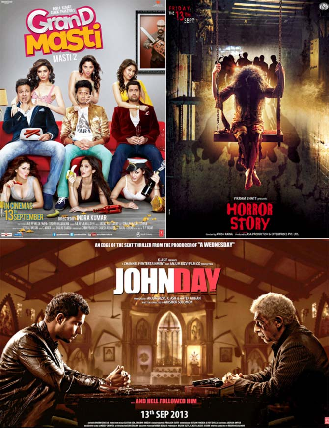 Posters of Grand Masti, Horror Story and JohnDay