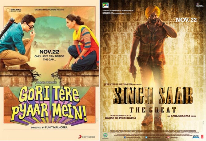 Posters of Gori Tere Pyaar Mein and Singh Sahab The Great