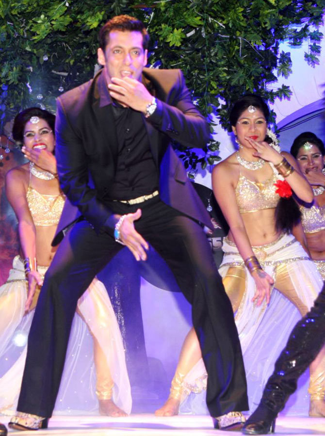 Salman Khan dances at the Bigg Boss press conference
