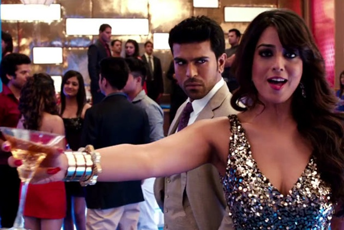 Ram Charan and Mahie Gill in Zanjeer