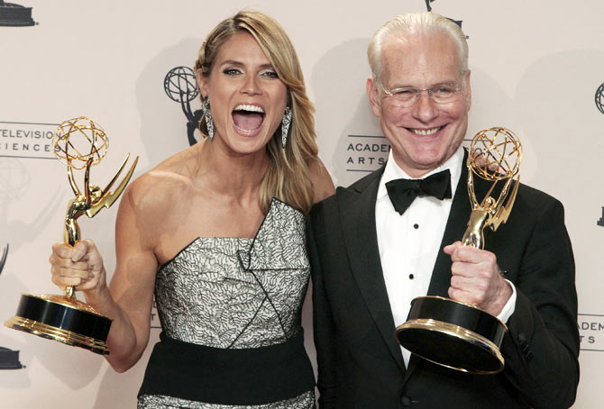 Heidi Klum and Tim Gunn at the 65th Primetime Creative Arts Emmy Awards