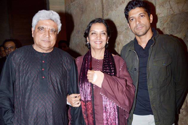 Javed Akhtar, Shabana Azmi and Farhan Akhtar