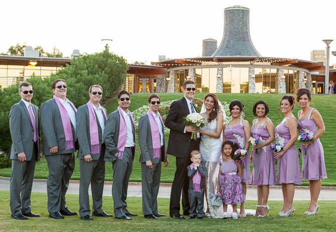 Dian Hayden and Collin Dick with bridesmaids, groomsmen, flower girl and page boy