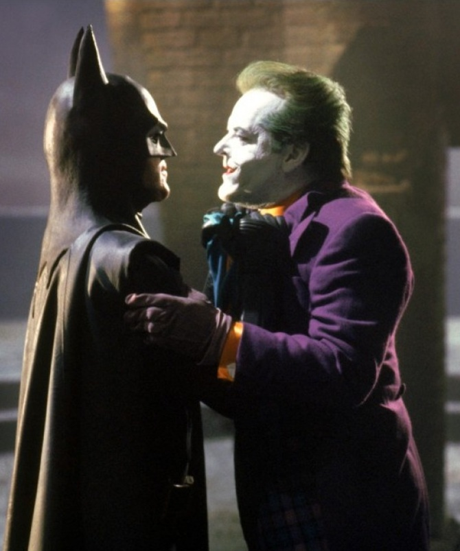 Jack Nicholson's Joker with Michael Keaton's Batman in Batman