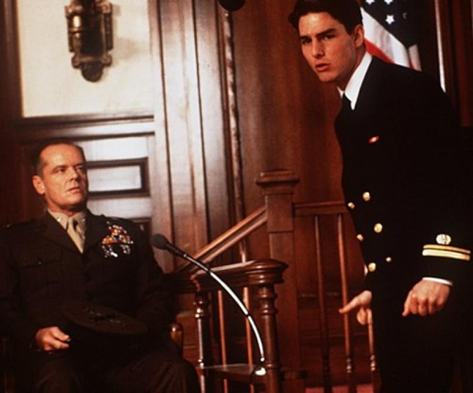 JAck Nicholson and Tom Cruise in A Few Good Men