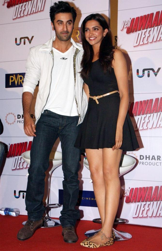 Rabir Kapoor and Deepika Padukone at Yeh Jawaani Hai Deewani promtoions