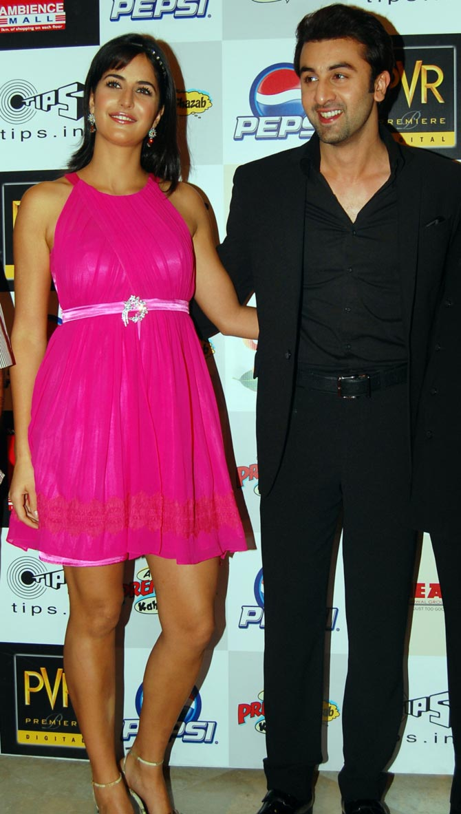 Katrina Kaif and Ranbir Kapoor at the Ajab Prem... screening