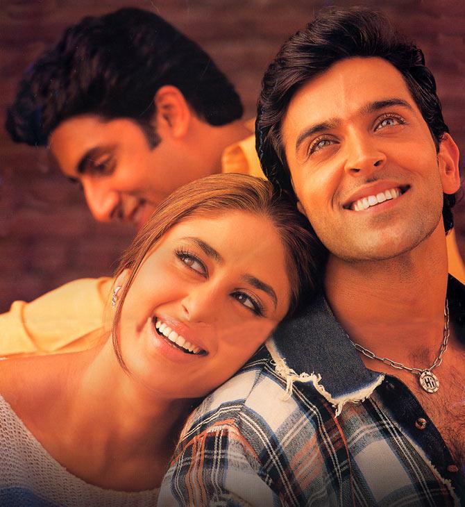 Abhishek Bachchan, Kareena Kapoor and Hrithik Roshan in Main Prem Ki Deewani Hoon