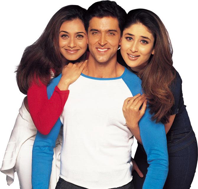 Rani Mukerji, Hrithik Roshan and Kareena Kapoor in Mujhse Dosti Karoge!