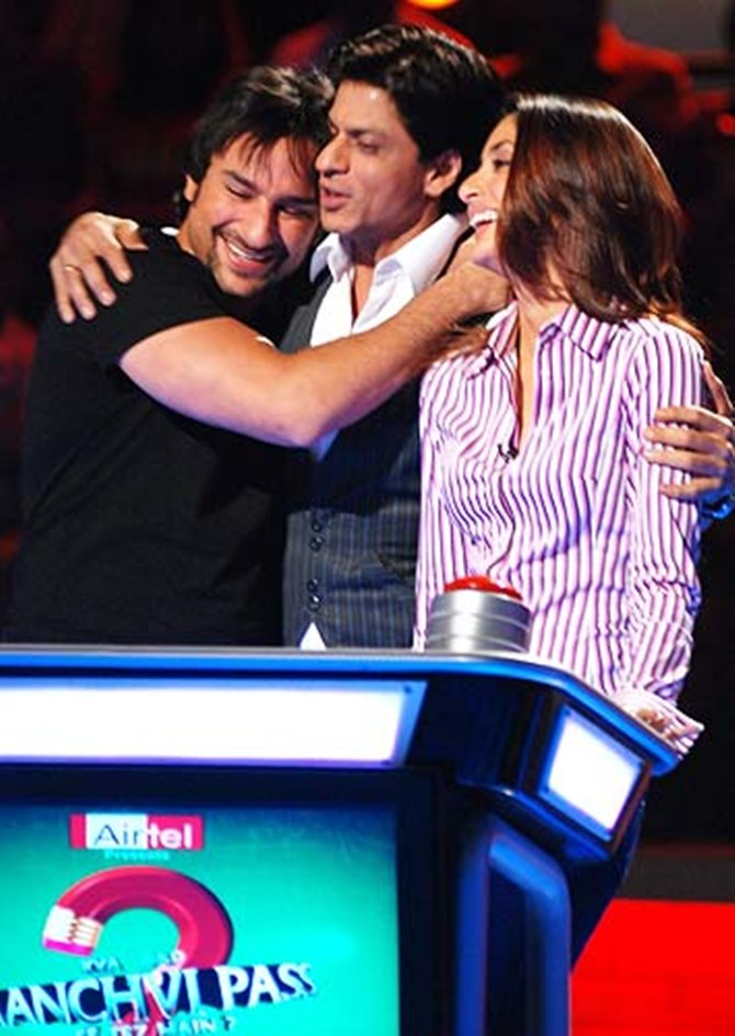 Kareena Kapoor with Saif Ali Khan and Shah Rukh Khan