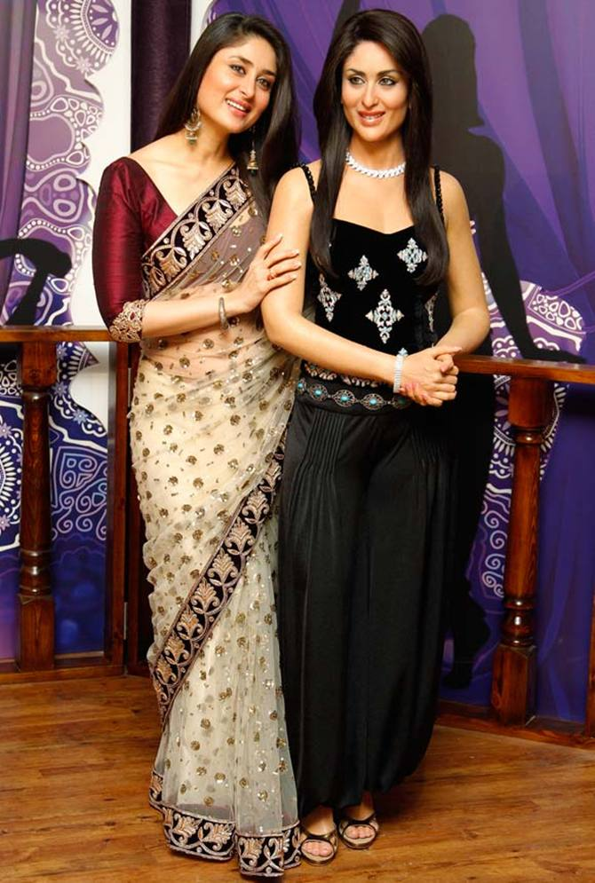 Kareena Kapoor with her wax statue