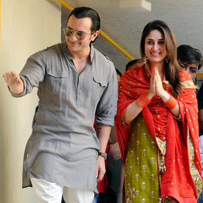 Kareena Kapoor with Sailf Ali Khan on their wedding day