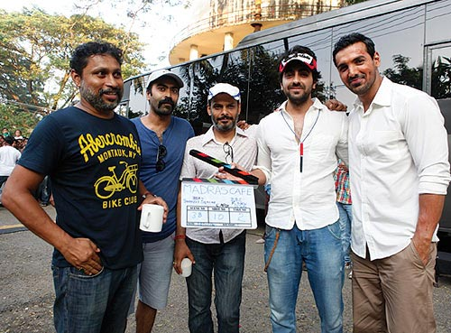 Shoojit Sircar (left) with Ayushmann Khurana (second from right) and John Abraham (right)
