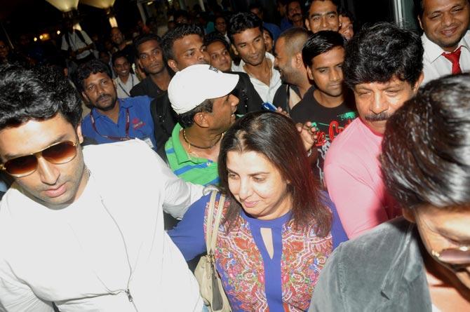 Abhishek Bachchan, Farah Khan and Shah Rukh Khan