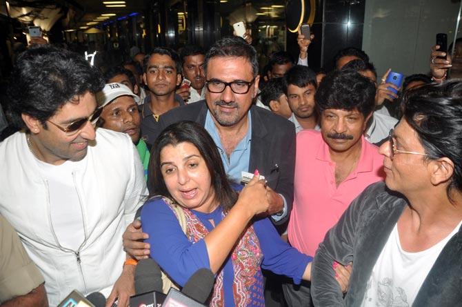 Abhishek Bachchan, Farah Khan, Boman Irani and Shah Rukh Khan
