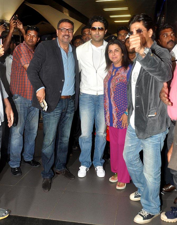 Boman Irani, Abhishek Bachchan, Farah Khan and Shah Rukh Khan