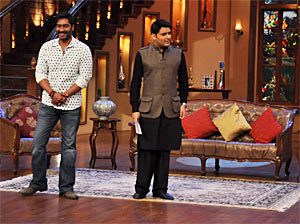Ajay Devgn and Kapil Sharma on the sets of Comedy Nights