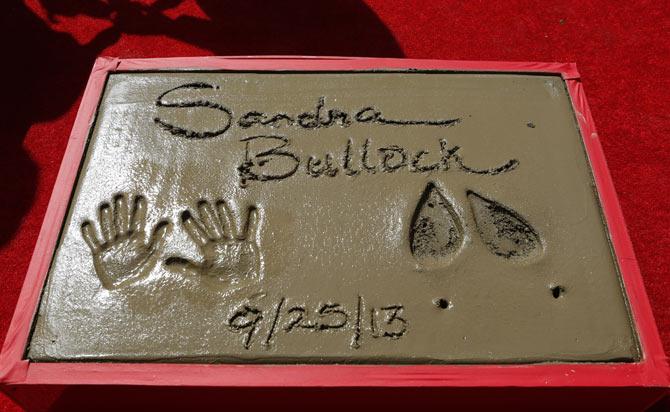 Sandra Bullock's hand and feet impressions