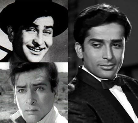 From left: Raj Kapoor, Shashi Kapoor and Shammi Kapoor