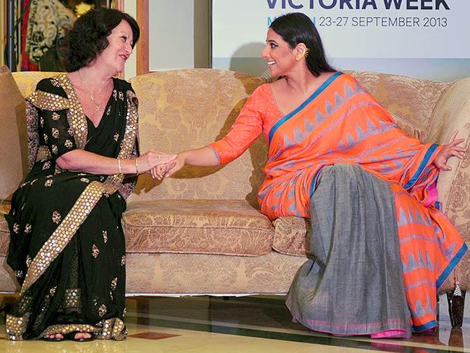Louise Asher and Vidya Balan